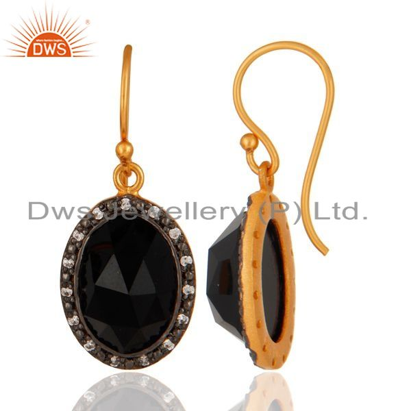 Suppliers Gold Plated Sterling Silver Faceted Black Onyx Gemstone Bezel Set Dangle Earring
