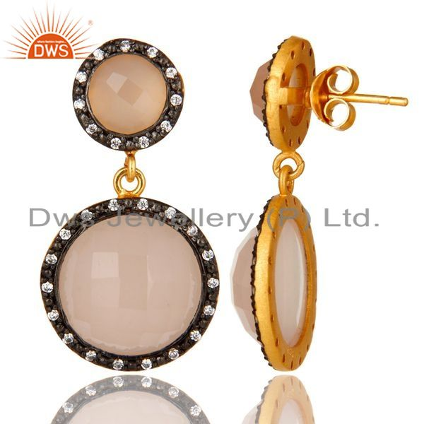 Suppliers 18K Gold Plated Sterling Silver Rose Chalcedony Double Drop Earrings With CZ