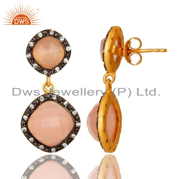 Suppliers 18K Yellow Gold Plated Sterling Silver CZ And Rose Chalcedony Dangle Earrings