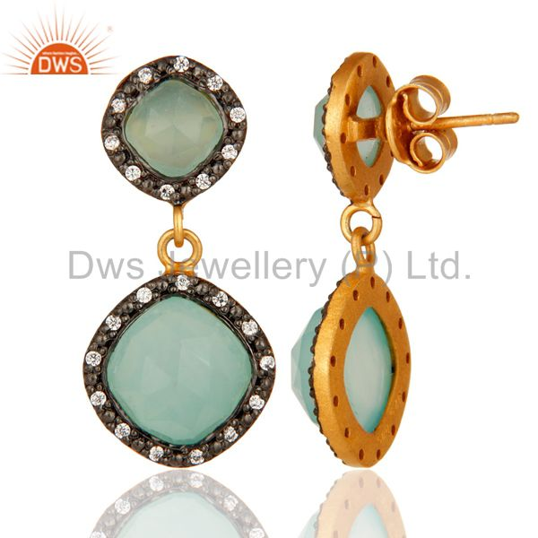 Suppliers Designer Blue Aqua Chalcedony Gemstone Earrings In 14 Gold Over Sterling Silver