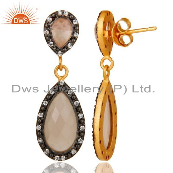 Suppliers Rose Chalcedony 18K Gold Plated Sterling Silver Drop Earrings With White Zircon