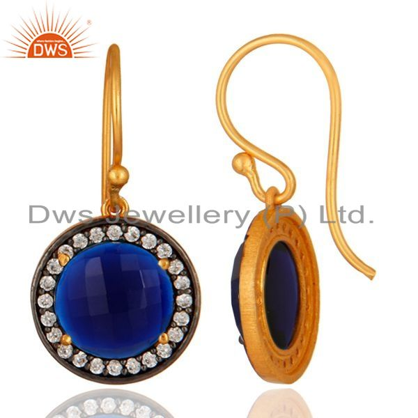 Suppliers Blue Corundum And White Zircon Earrings In 18K Gold Over Sterling Silver Jewelry