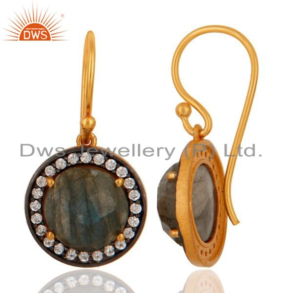 Suppliers 18K Gold Plated Sterling Silver Labradorite Gemstone Earring With White Zircon