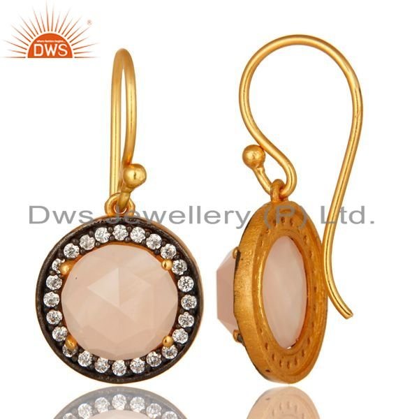 Suppliers Rose Chalcedony & Cubic Zirconia 18K Gold Plated Sterling Silver Dangle Earrings