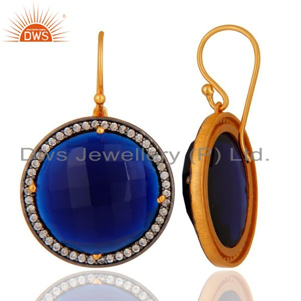 Suppliers Blue Corundum & White Zircon 925 Sterling Silver Faceted Round Gemstone Earrings