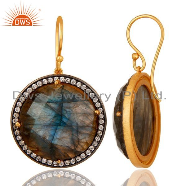 Suppliers Labradorite Gemstone Earring With CZ Made In 18K Gold Over Solid 925 Silver