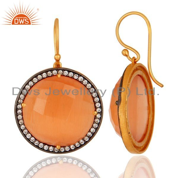Suppliers 18K Gold Plated Sterling Silver Dyed Peach Moonstone Faceted Dangle Earrings