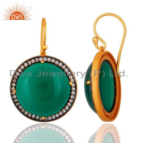 Suppliers Designer Green Onyx Gemstone 925 Sterling Silver Hook Earring With Gold Plated