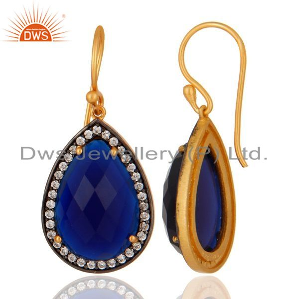 Suppliers 18K Gold Over 925 Sterling Silver Blue Sapphire Corundum Gemstone Drop Earrings