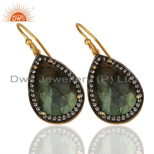 Suppliers Gold Plated Sterling SIlver Faceted Labradorite Gemstone Bezel Set Earrings