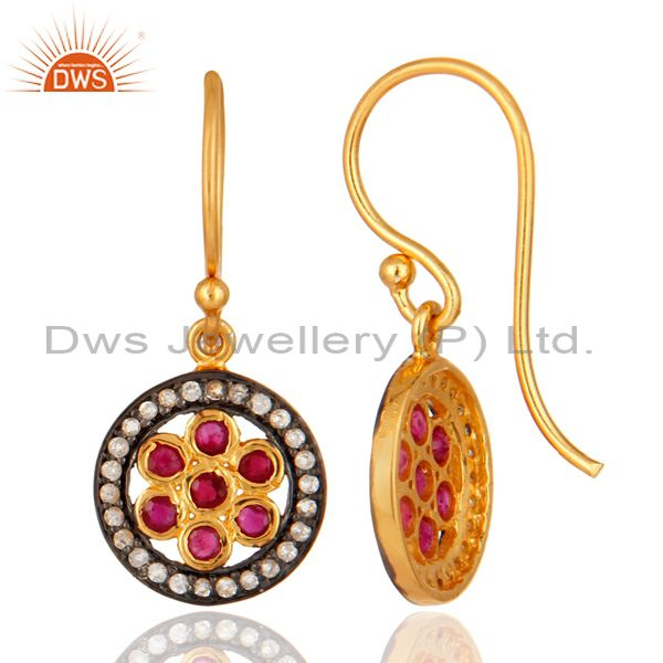 925 Silver Ruby And White Topaz Gemstone Earring Manufacturer Jaipur