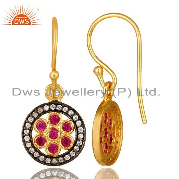 Suppliers Shiny 18K Yellow Gold Plated Sterling Silver Red Cubic Zirconia Drop Earrings