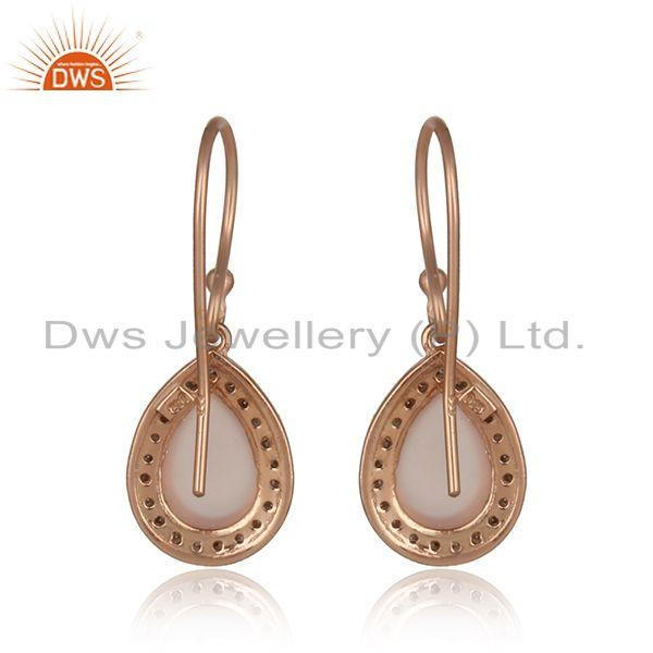 Designer of Diamond and rose chalcedony dangle in rose gold on silver 925