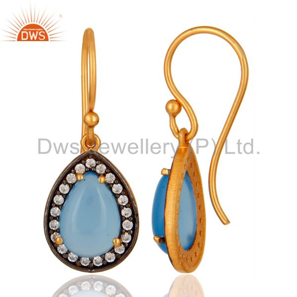 Suppliers Blue Aqua Chalcedony Gemstone Earring Made In 24K Gold Plated Sterling Silver
