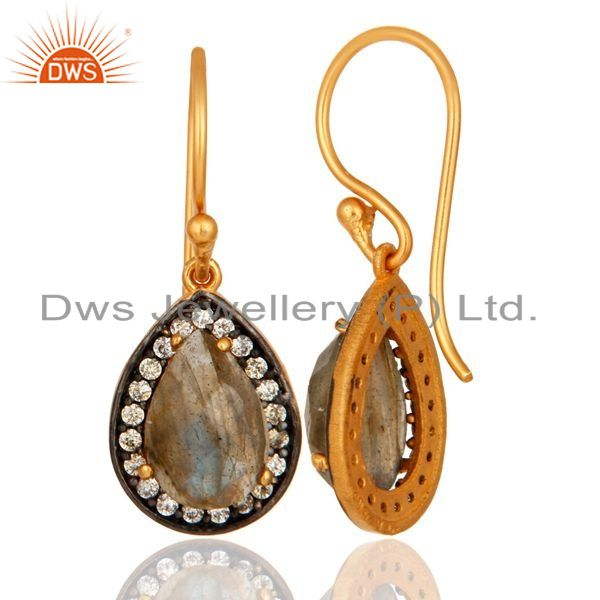 Suppliers Natural Labradorite Gemstone Sterling Silver With Yellow Gold Plated Earrings