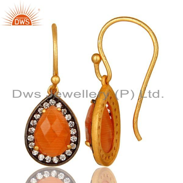 Suppliers Peach Moonstone And CZ Sterling Silver Dangle Earrings With Gold Plated