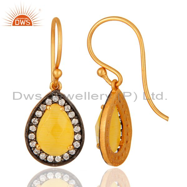 Suppliers 18K Gold Plated 925 Sterling Silver Pave CZ & Yellow Moonstone Designer Earrings