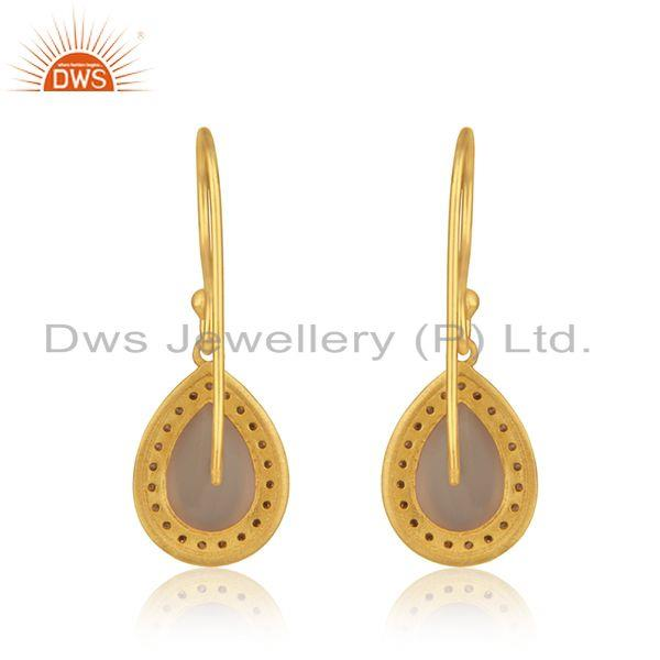 Suppliers Rose Chalcedony Gemstone 925 Silver Gold Plated Drop Earring Manufacturer Jaipur