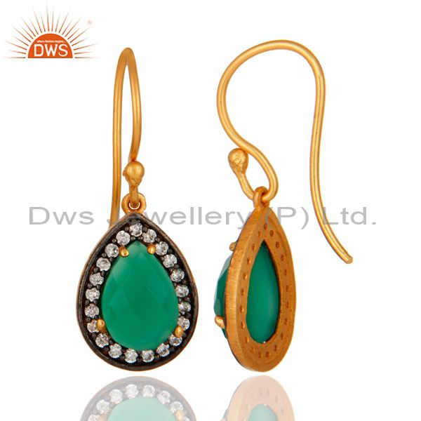 Suppliers 925 Sterling Silver 24K Gold Plated Green Onyx Gemstone Drop Earring With CZ