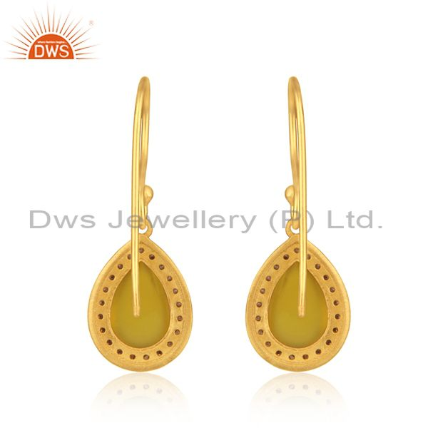 Suppliers Yellow Chalceodny Gemstone 925 Silver Gold Plated Drop Earrings Manufacturer