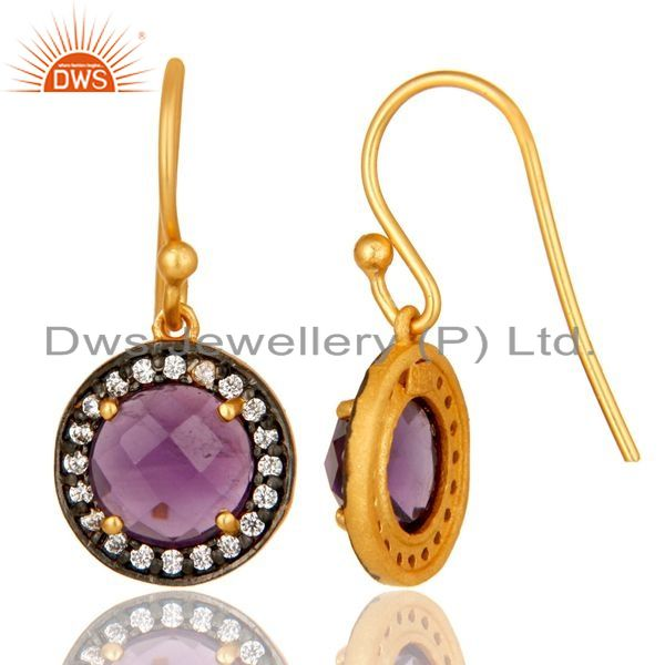 Suppliers 18K Yellow Gold Plated Sterling Silver Amethyst And CZ Disc Dangle Earrings