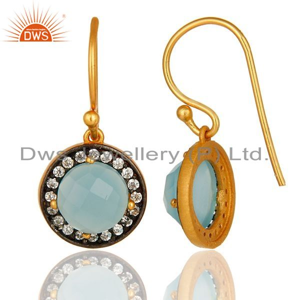 Suppliers 18K Yellow Gold Plated Sterling Silver Pave CZ And Aqua Blue Chalcedony Earrings
