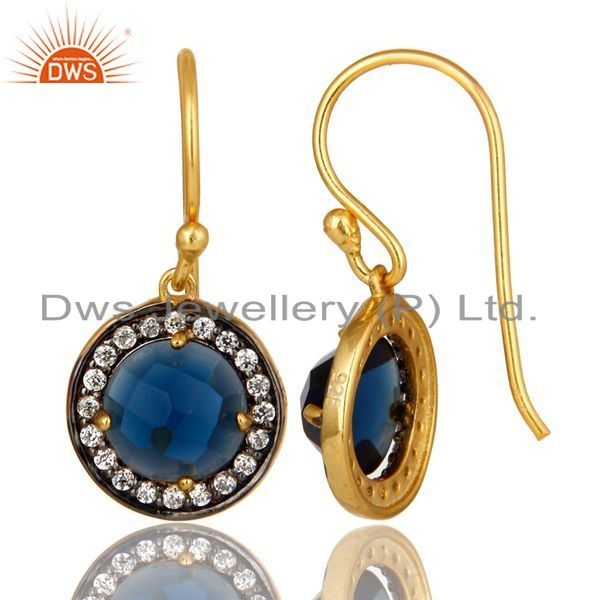 Suppliers 14K Yellow Gold Plated Sterling Silver Blue Corundum And CZ Halo Earrings