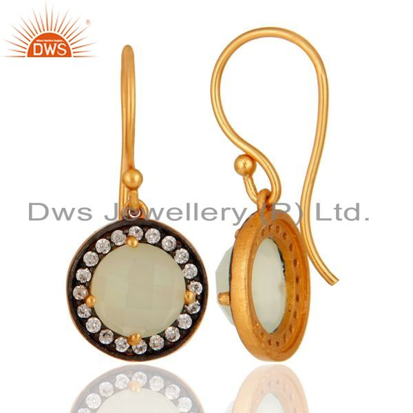 Suppliers 925 Sterling Silver Natural Chalcedony Gemstone & CZ Earrings With Gold Plated