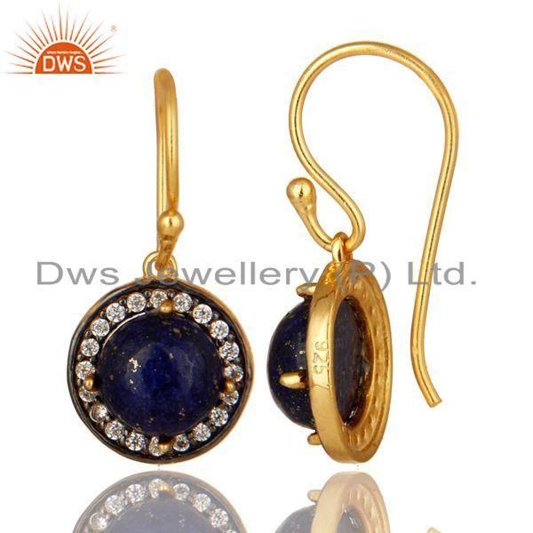 Suppliers 18K Yellow Gold Plated Sterling Silver Lapis Lazuli And cz Dangle Earrings