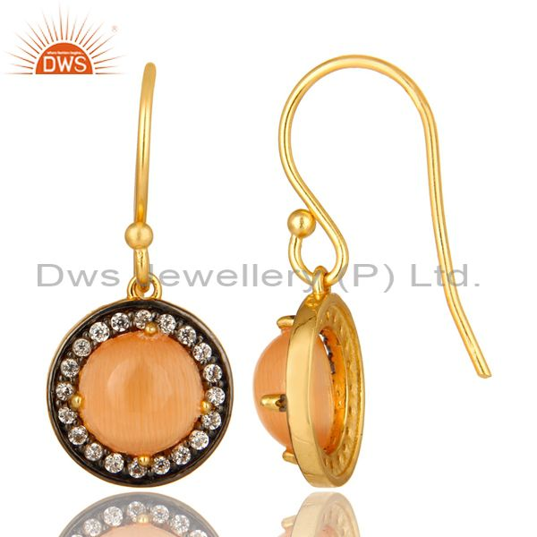 Suppliers 18K Yellow Gold Plated Sterling Silver Peach Moonstone And CZ Halo Drop Earrings