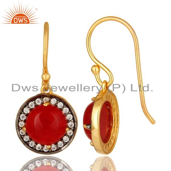 Suppliers Red Aventurine Gemstone And CZ Sterling Silver Dangle Earrings With Gold Plated