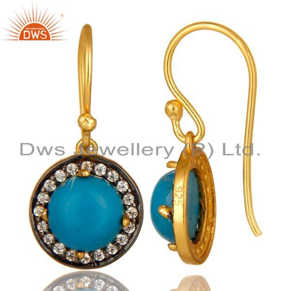 Suppliers 18K Yellow Gold Plated Sterling Silver Turquoise And CZ Surrounded Drop Earrings
