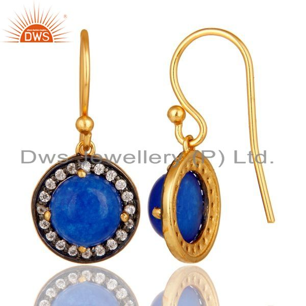 Suppliers Yellow Gold Plated Sterling Silver Blue Aventurine CZ Surrounded Drop Earrings
