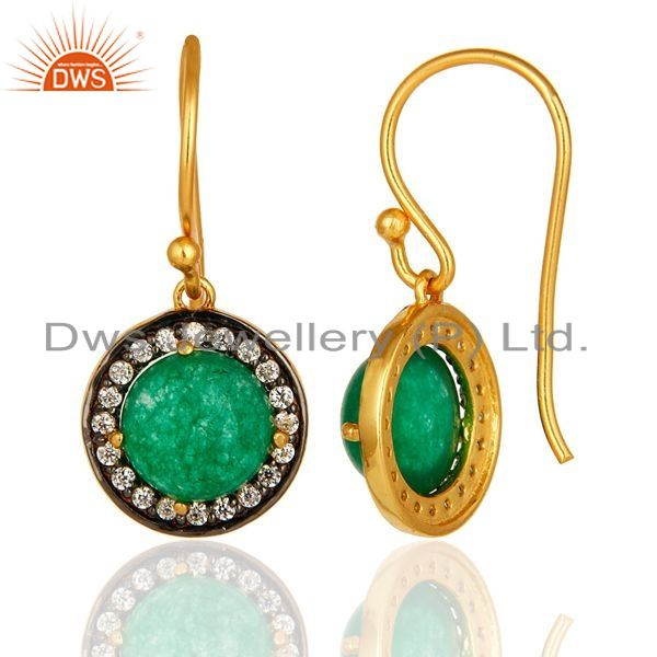 Suppliers 18K Gold Plated Sterling Silver Pave CZ And Green Aventurine Dangle Earrings