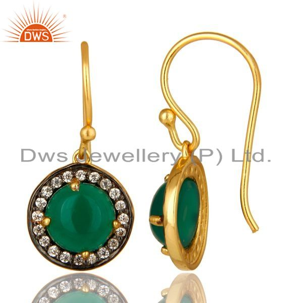 Suppliers 18K Yellow Gold Plated Sterling Silver Green Onyx And CZ Halo Dangle Earrings