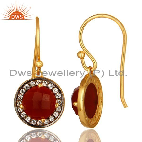 Suppliers Round Cut Red Onyx Gemstone 18K Gold Plated Sterling Silver Earrings With CZ