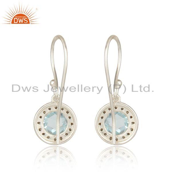 Designer of Diamond and blue topaz designer dangle in solid silver 925