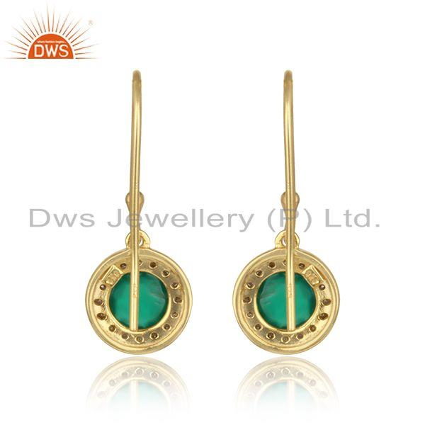 Designer of Diamond green onyx designer dangle in yellow gold on silver 925