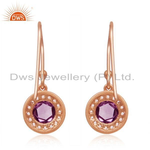 Suppliers Amethyst Gemstone and White Topaz Gemstone Rose Gold Plated 925 Silver Earrings