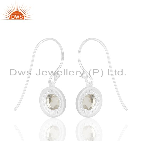 Suppliers White Topaz and Crystal Quarta 925 Silver Drop Earrings Wholesale