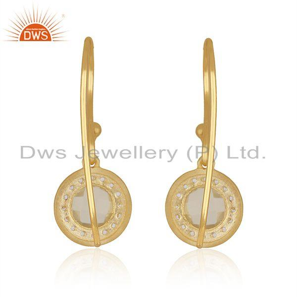Suppliers White and Lemon Topaz Gemstone 18k Gold Plated Silver Earrings Jewelry