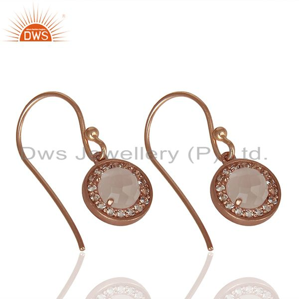 Suppliers Round Crystal and Topaz Gemstone Rose Gold Silver Drop Earring Jewelry