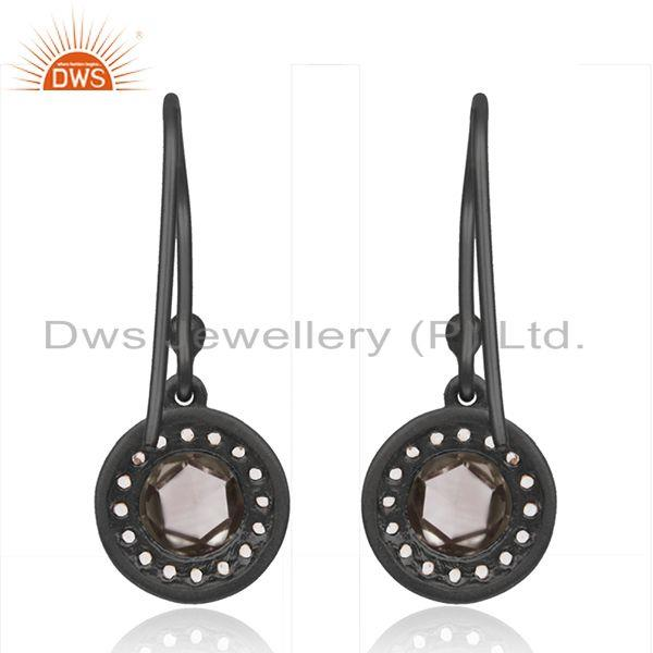 Suppliers 92.5 Silver Smoky And Zircon Gemstone Black Drop Earrings Manufacturer India