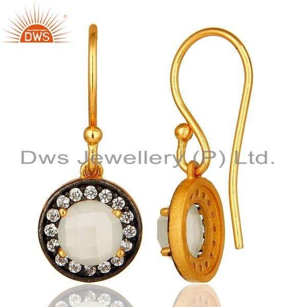 Suppliers 18K Gold Plated Sterling Silver White Moonstone Earrings With Cubic Zirconia