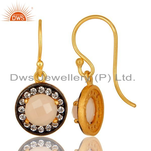 Suppliers Rose Chalcedony Gemstone And CZ Sterling Silver Dangle Earrings With Gold Plated