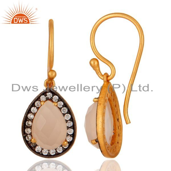 Suppliers Natural Rose Chalcedony Gemstone Earrings Made In 22K Gold Over Sterling Silver