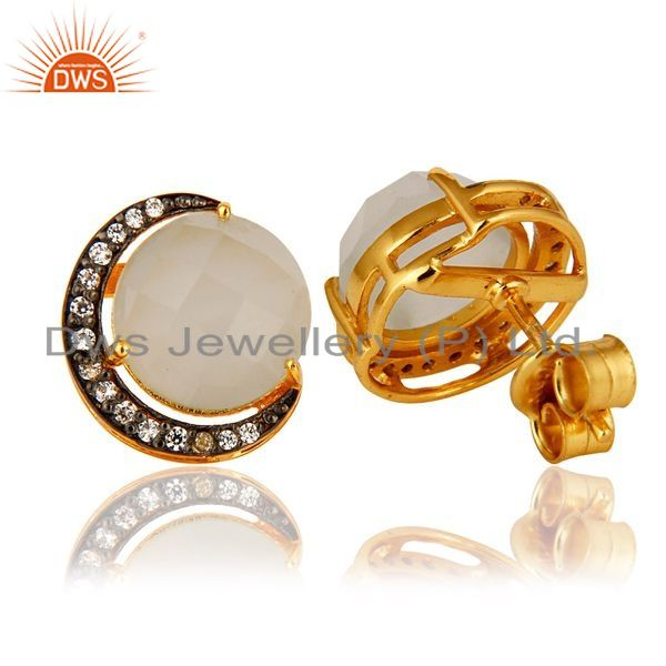 Suppliers 18K Gold Plated Sterling Silver White Moonstone Half Moon Stud Earrings With CZ