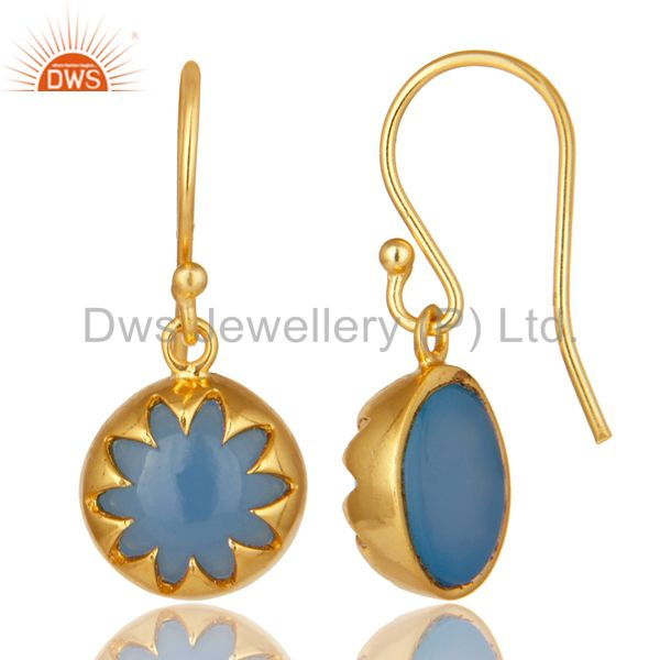 Suppliers 14K Yellow Gold Plated Sterling Silver Blue Chalcedony Drop Earrings
