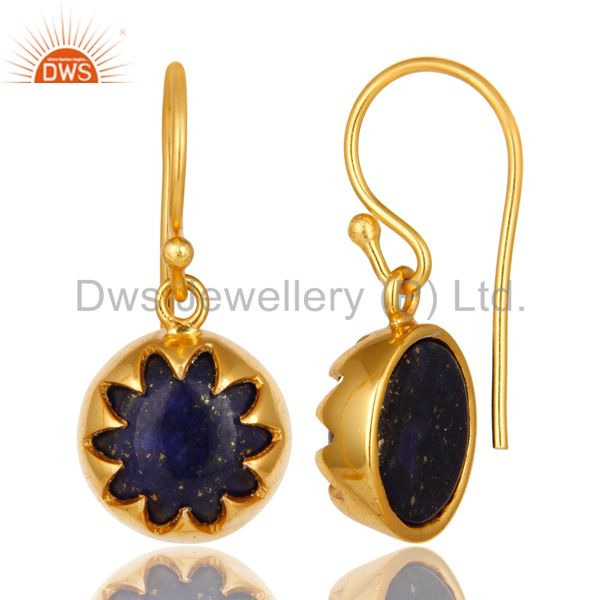 Suppliers 14K Yellow Gold Plated Sterling Silver Lapis Lazuli Designer Dangle Earrings