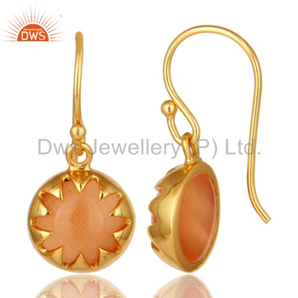 Suppliers 14K Yellow Gold Plated Sterling Silver Peach Moonstone Designer Drop Earrings